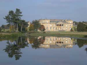 The House at Croome reflected in the lake landscaped by Capability Brown
