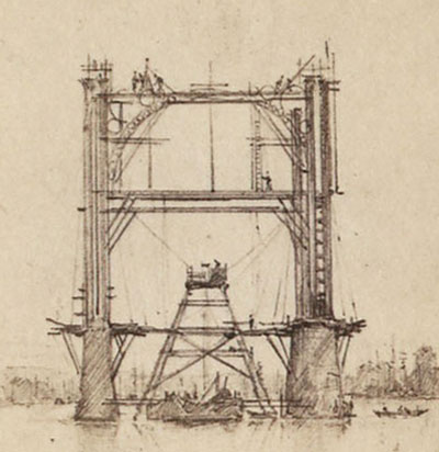pugins drawing of the iron bridge rouen