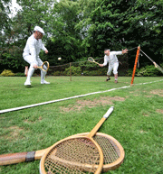 reconstruction of Harry Gem playing tennis