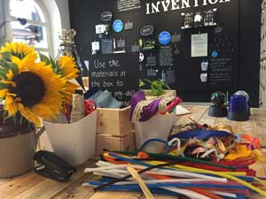 displays and colourful craft materials