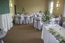 long room set out for wedding