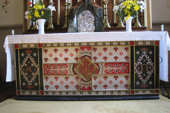 St Joseph's church: wooden altar frontal by Pugin 1850