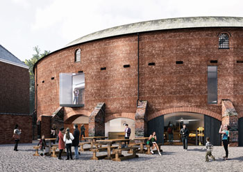 view of the redeveloped roundhouse showing cafe and seating outside