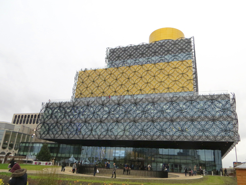 the Library of Birmingham Building from the front showing its distinctive cladding formed from circles of metal